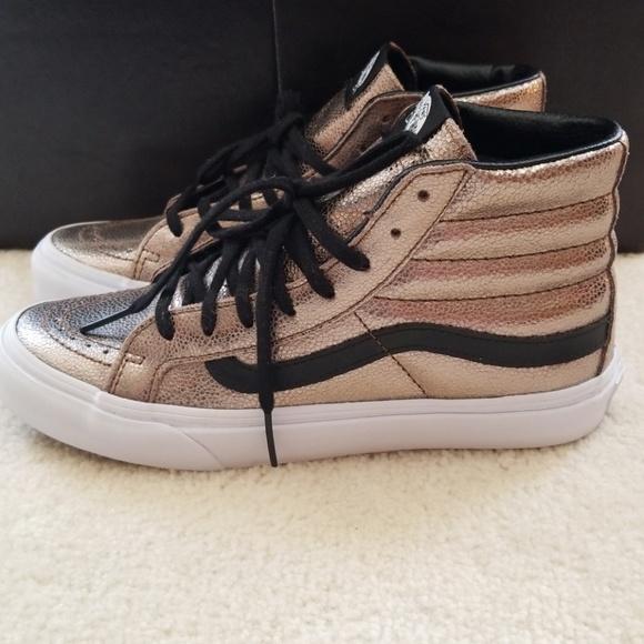 092c138709b3d2 Vans Shoes - Vans Sk8 Hi Slim Metallic Leather Bronze
